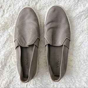 VINCE Grey Slip On Leather Sneakers 6
